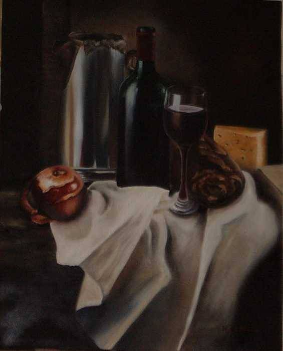 Wine Art Print featuring the painting Still Life With Apple by Nellie Visser