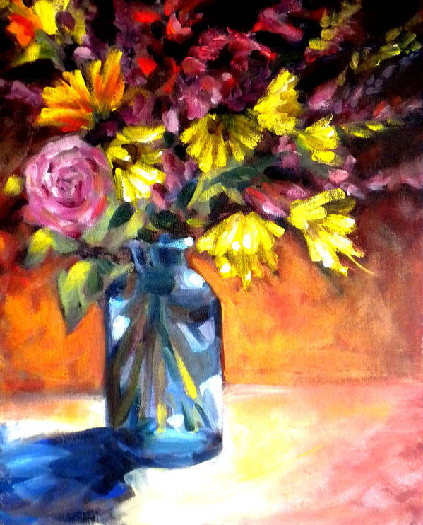 Flowers Art Print featuring the painting Summer Bouquet by Paula Strother