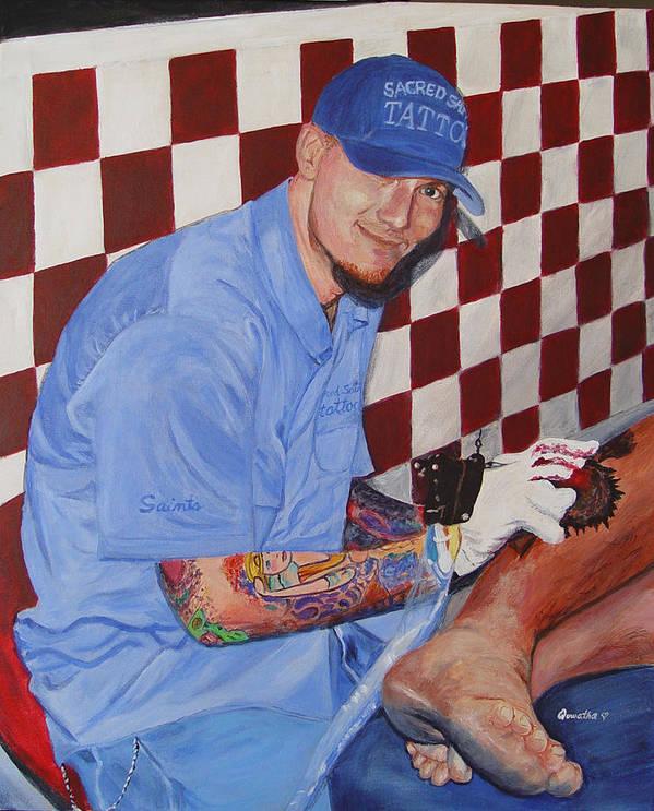 Tattoo Art Print featuring the painting Tattoo Artist - Brandon Notch by Quwatha Valentine