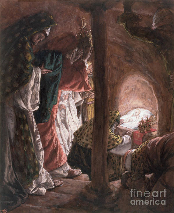 Nativity Art Print featuring the painting The Adoration Of The Wise Men by Tissot