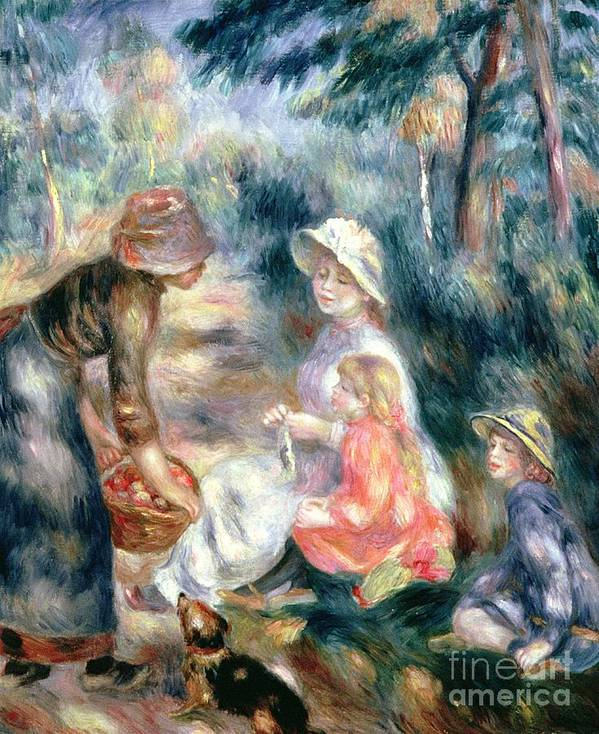 Apple Seller ;selling; Female; Apples; Impressionist; Children; Basket; Dog; Orchard; La Marchande De Pommes Art Print featuring the painting The Apple-seller by Pierre Auguste Renoir
