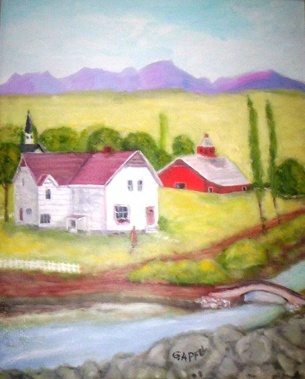 House Art Print featuring the painting The Barn by Gloria M Apfel