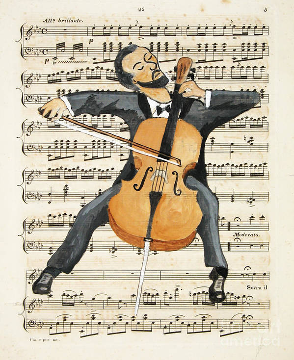 Cello Art Print featuring the painting The Cellist by Paul Helm