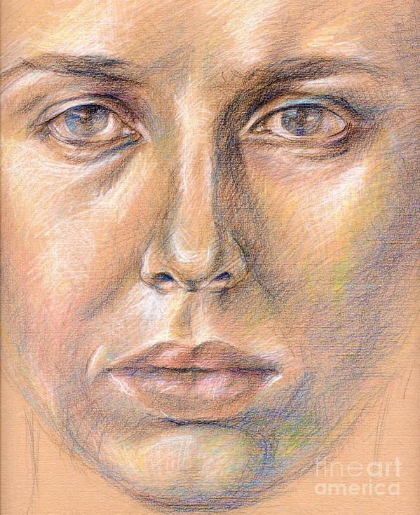 Drawing Art Print featuring the digital art The Face In The Miror by Iglika Milcheva-Godfrey