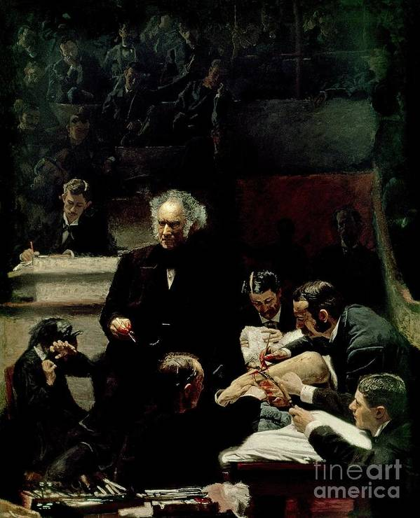 The Gross Clinic Print featuring the painting The Gross Clinic by Thomas Cowperthwait Eakins