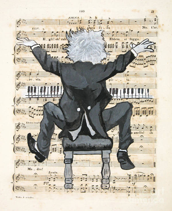 Pianist Art Print featuring the painting The Happy Pianist by Paul Helm