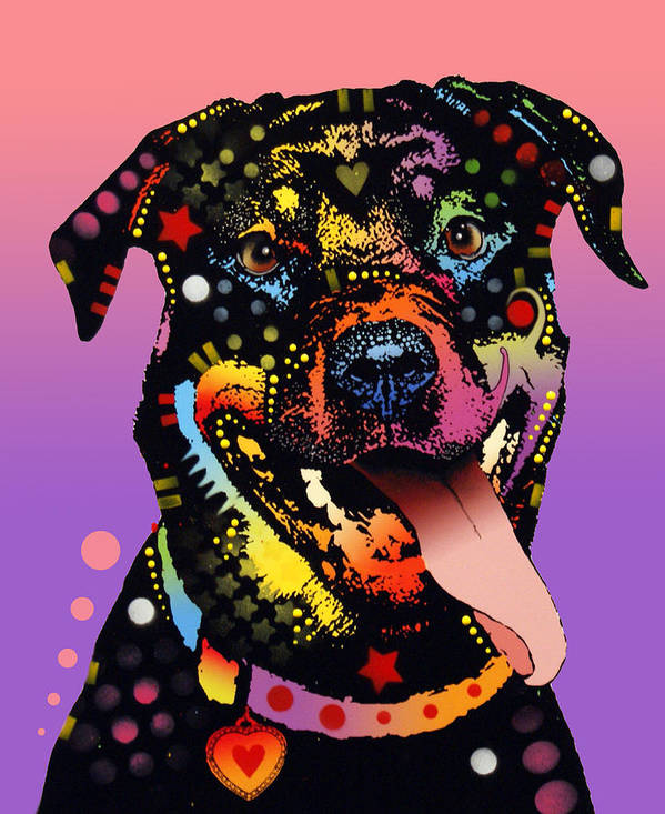 Rottweiler Art Print featuring the painting The Happy Rottie by Dean Russo