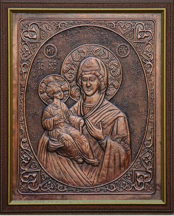 Icons Art Print featuring the relief The Holly Mother With Jesus Christ by Netka Dimoska