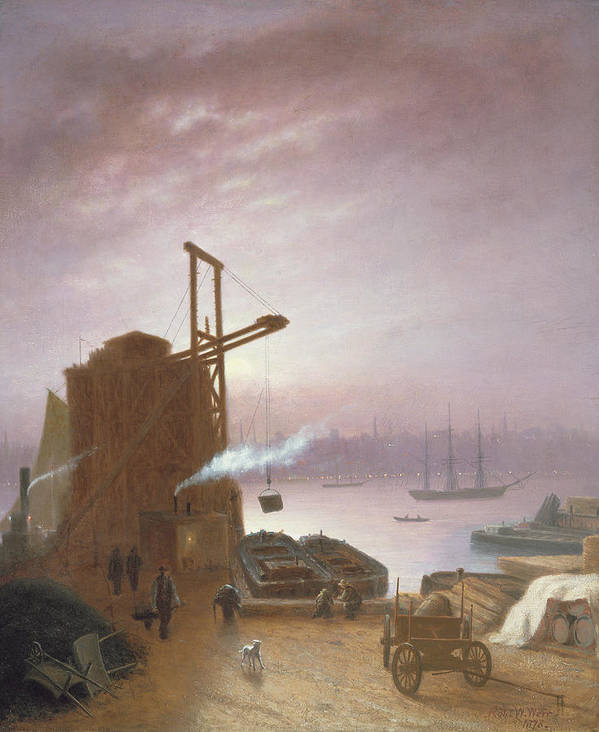 The Print featuring the painting The Hudson River From Hoboken by Robert Walter Weir