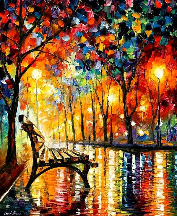 Afremov Art Print featuring the painting The Loneliness Of Autumn by Leonid Afremov