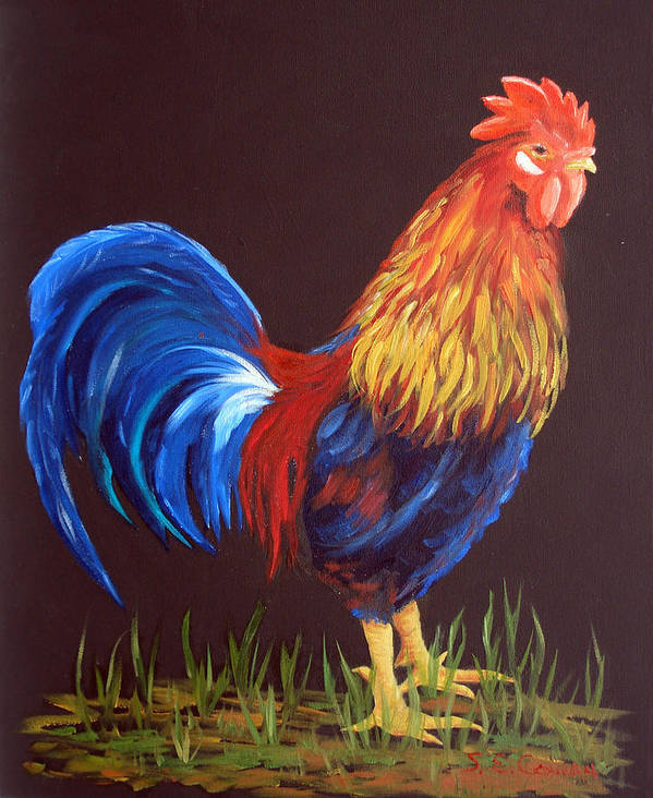 Rooster Art Print featuring the painting The Rooster by SueEllen Cowan
