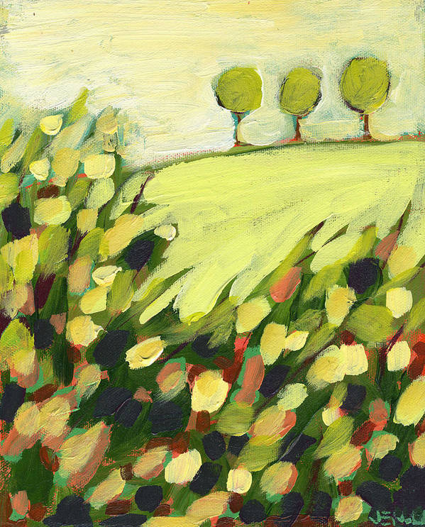 Landscape Art Print featuring the painting Three Trees On A Hill by Jennifer Lommers