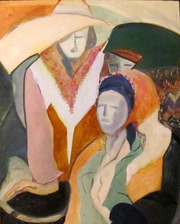 Women Art Print featuring the painting Three Women by Carole Johnson