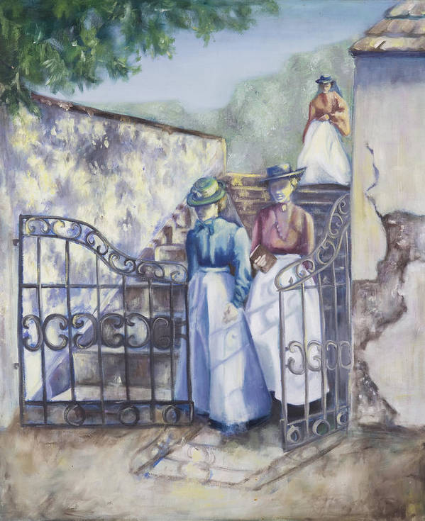 Garden Stairs Art Print featuring the painting Through The Gate by Victoria Shea