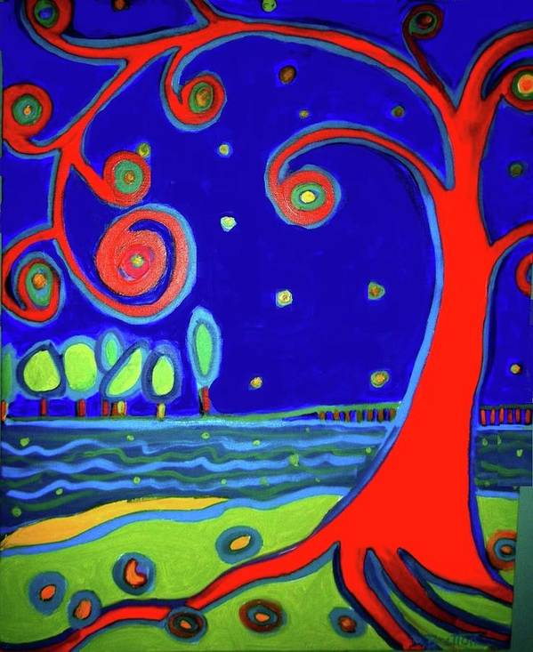Manchester-by-the-sea Art Print featuring the painting tree of life Manchester-by-the-sea by Debra Bretton Robinson
