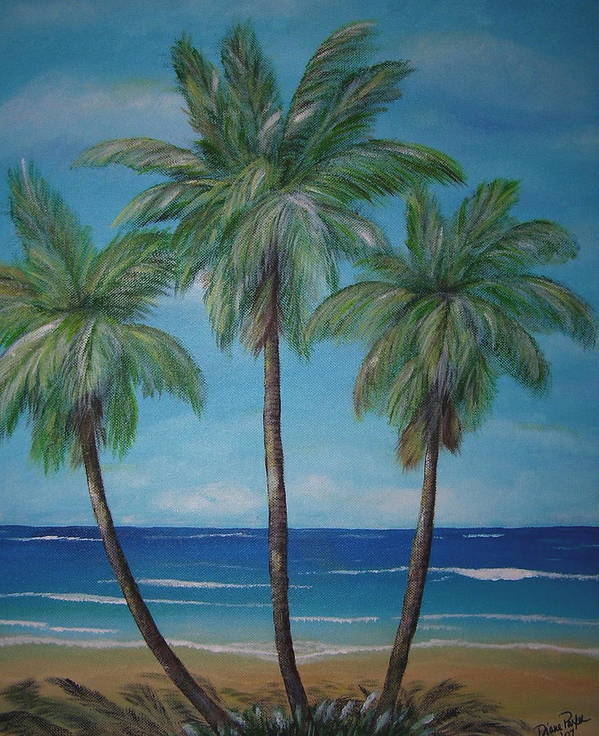Palm Trees Art Print featuring the painting Treesome by Dyanne Parker