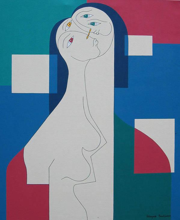 Modern Women Bleu Green Red Humor Art Print featuring the painting Trio by Hildegarde Handsaeme