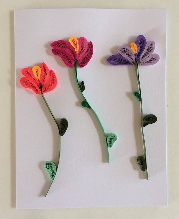 Tulips handmade quilling greeting card art print by gay dallek quilling art print featuring the mixed media tulips handmade quilling greeting card by gay dallek m4hsunfo