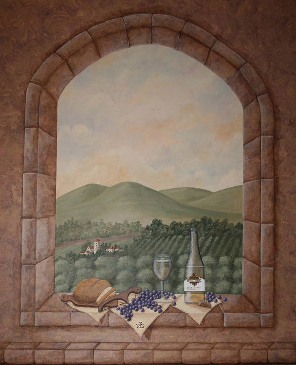 Wine Art Print featuring the painting Tuscan Window Ledge by Sandra Poirier