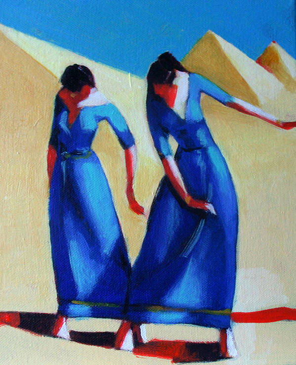 Figure Art Print featuring the painting Two Dancers With Three Pyramids by Ihab Bishai