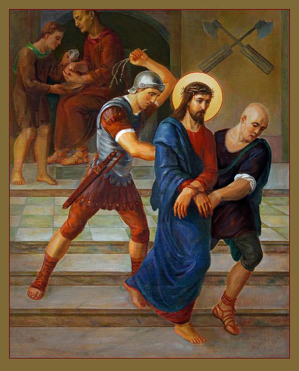 Altar Art Print featuring the painting Via Dolorosa - Stations Of The Cross - 1 by Svitozar Nenyuk
