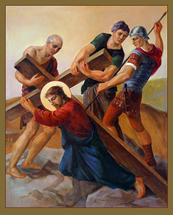 Easter Art Print featuring the painting Via Dolorosa - Stations Of The Cross - 3 by Svitozar Nenyuk