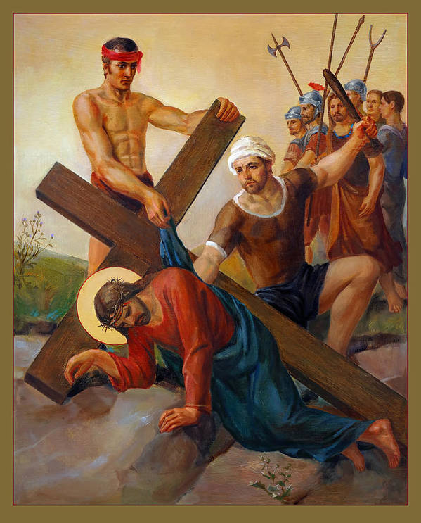 Via Dolorosa Art Print featuring the painting Via Dolorosa - The Second Fall Of Jesus - 7 by Svitozar Nenyuk