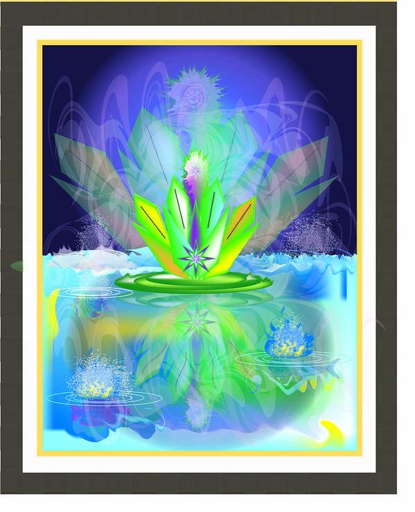 Art Print featuring the digital art Waterplant2 by George Pasini