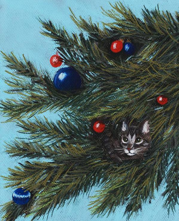 Cat Art Print featuring the pastel Where Is Santa by Anastasiya Malakhova