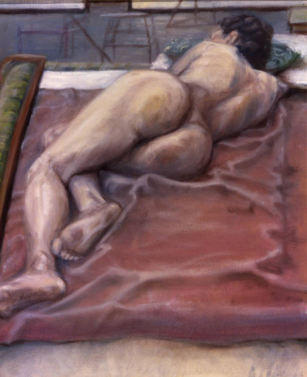 Woman Art Print featuring the painting Woman On Blanket by John Clum