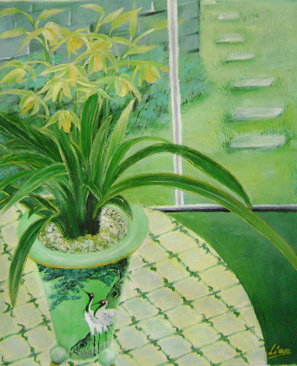 Floral Art Print featuring the painting Yellow Orchids by Lian Zhen
