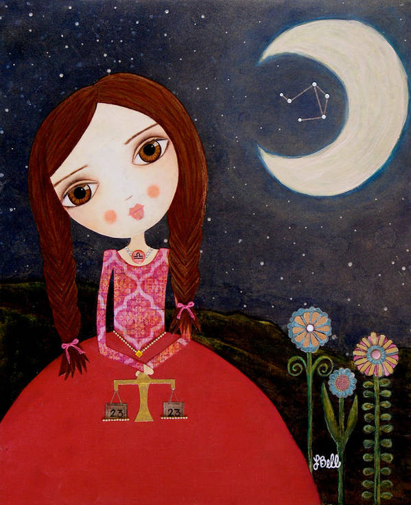 Zodiac Art Print featuring the painting Zodiac Libra by Laura Bell