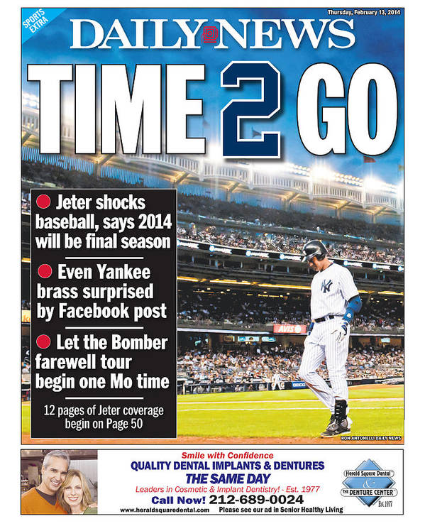 American League Baseball Art Print featuring the photograph Daily News Back Page Derek Jeter by New York Daily News