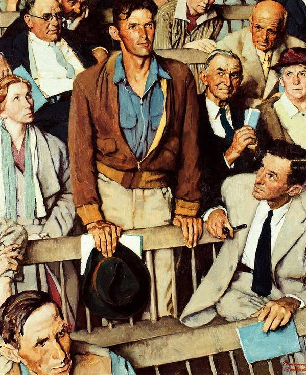 Man Standing Art Print featuring the drawing Freedom Of Speech by Norman Rockwell
