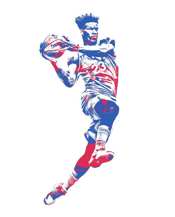 2d7a8d094d6 Jimmy Butler Art Print featuring the mixed media Jimmy Butler Philadelphia  76ers Pixel Art 1 by