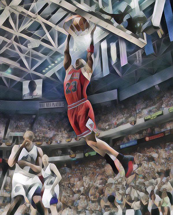 Michael Jordan Art Print featuring the mixed media Michael Jordan Chicago Bulls Abstract Art 1 by Joe Hamilton
