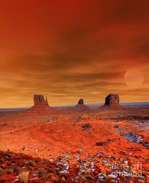 Southwest Art Print featuring the photograph Monument Valley Arizona With Evening by Paul B. Moore
