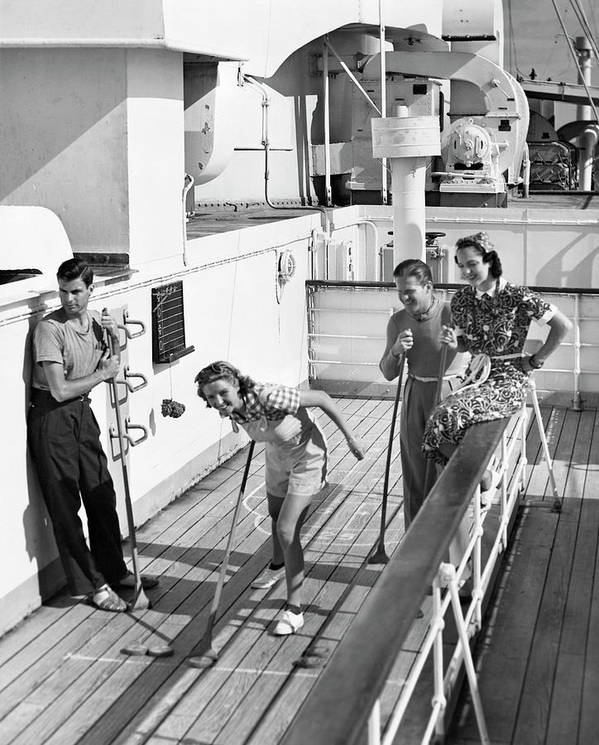 Heterosexual Couple Art Print featuring the photograph Shuffleboard Players by George Marks