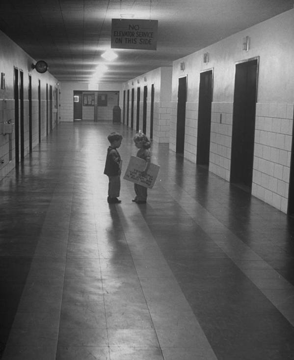 Event Art Print featuring the photograph Three-yr-old Boy And Girl Talking In Emp by Nina Leen