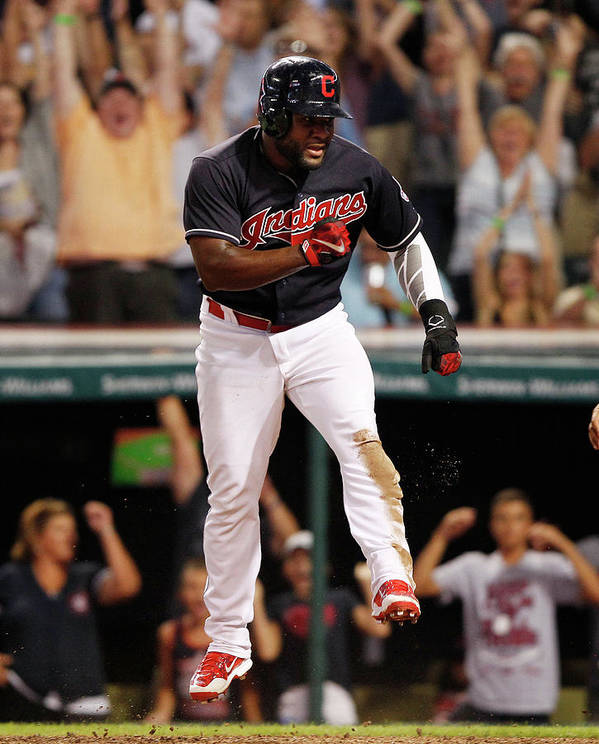 Ninth Inning Art Print featuring the photograph Abraham Almonte And Tyler Naquin by David Maxwell