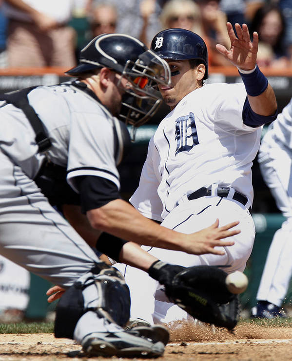 Baseball Catcher Art Print featuring the photograph Chicago White Sox V Detroit Tigers by Duane Burleson