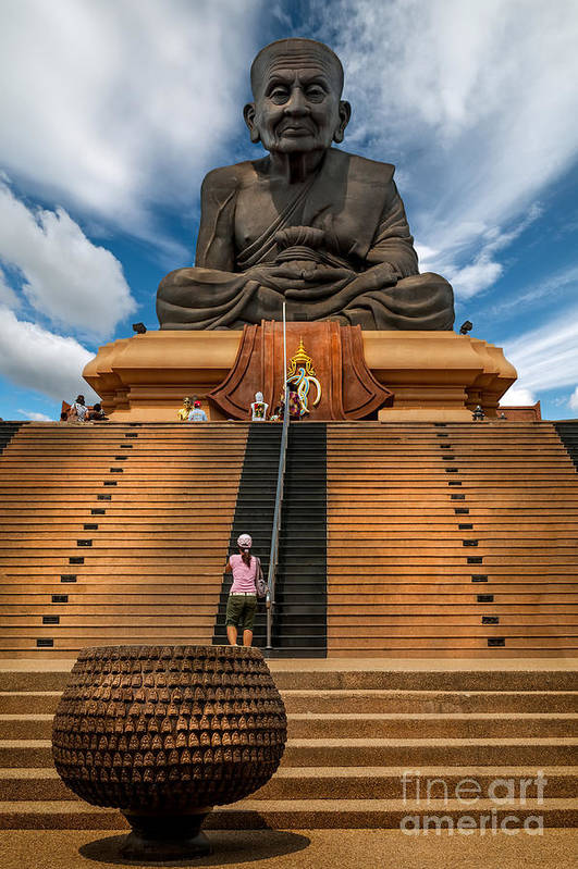 Hdr Print featuring the photograph Huay Mongkol Temple by Adrian Evans
