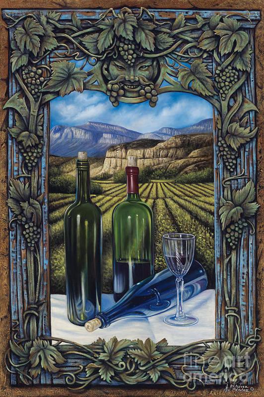 Wine Art Print featuring the painting Bacchus Vineyard by Ricardo Chavez-Mendez