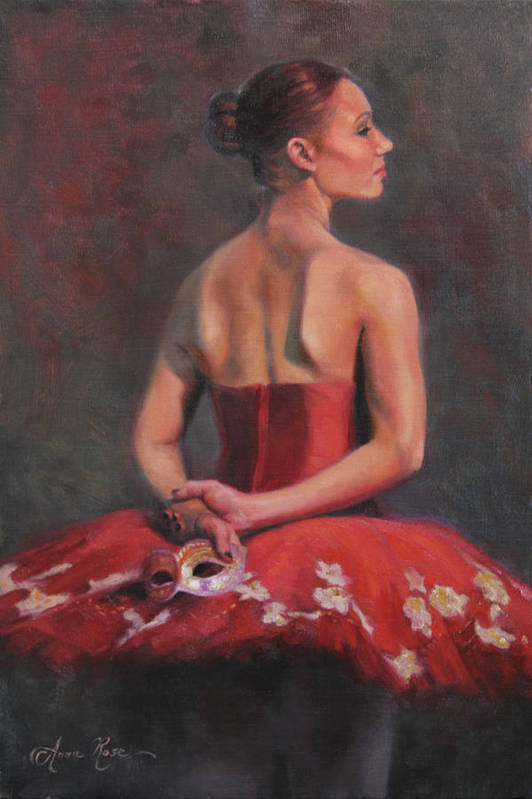 Ballet Art Print featuring the painting Ballerina With Mask by Anna Rose Bain