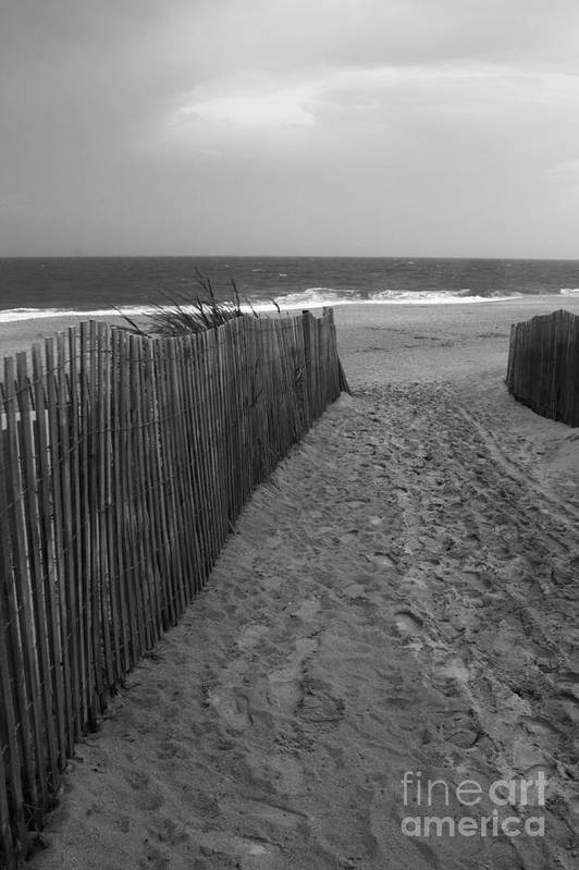 Dewey beach art print featuring the photograph black and white beach scene by arlene carmel