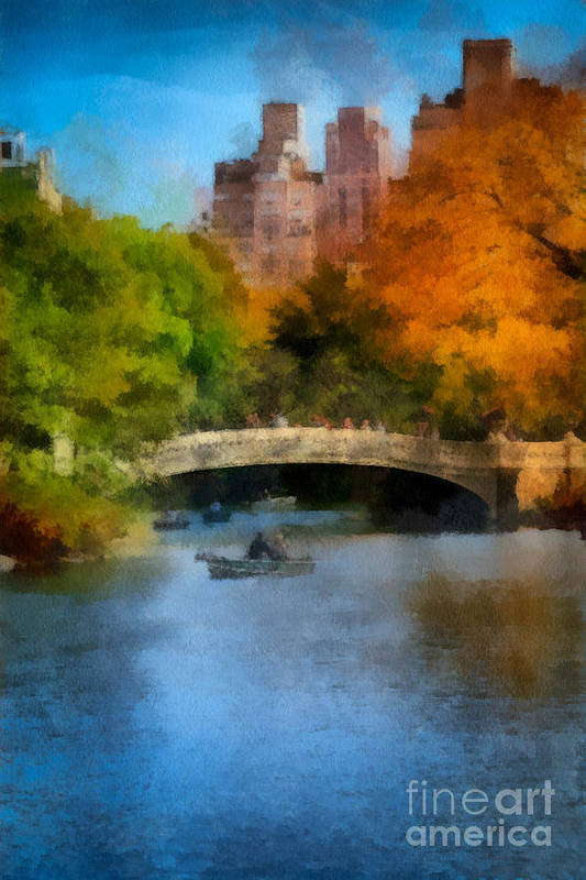 Boat Art Print featuring the digital art Bow Bridge Central Park by Amy Cicconi
