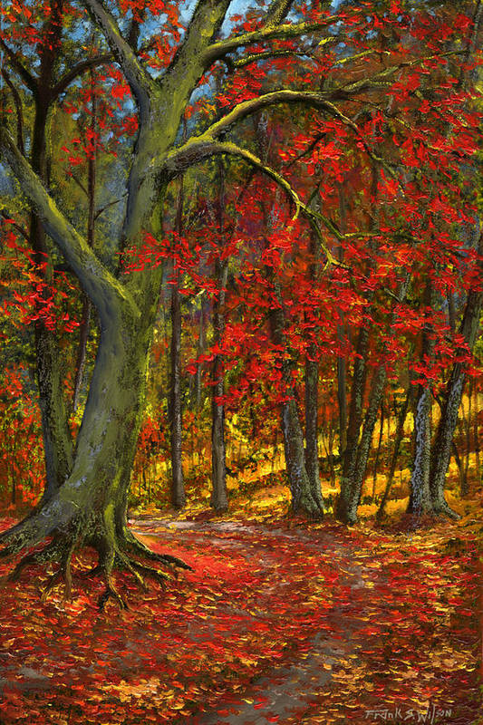 Landscape Art Print featuring the painting Fallen Leaves by Frank Wilson