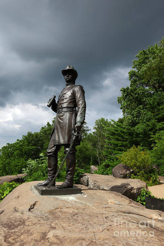 Gettysburg Art Print featuring the photograph General K Warren Monument Gettysburg by James Brunker