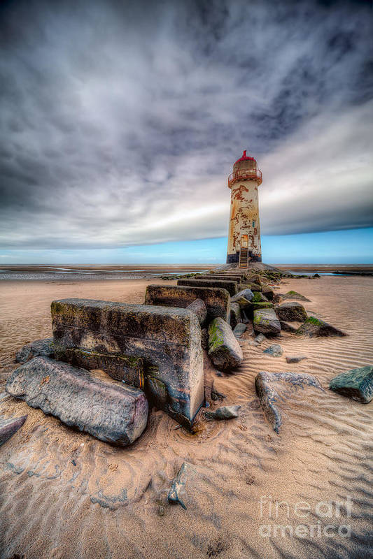 Beach Print featuring the photograph Lighthouse At Talacre by Adrian Evans