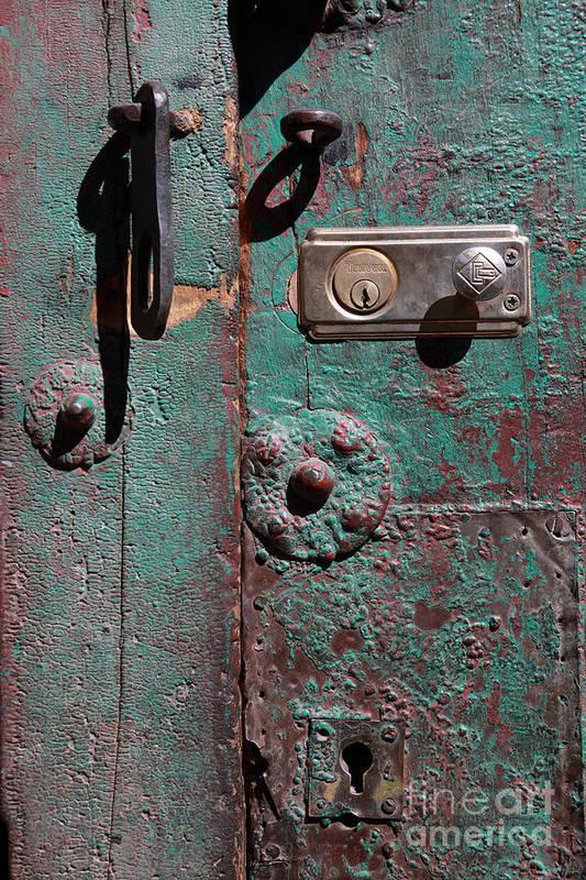 Door Art Print featuring the photograph New Lock On Old Door 3 by James Brunker
